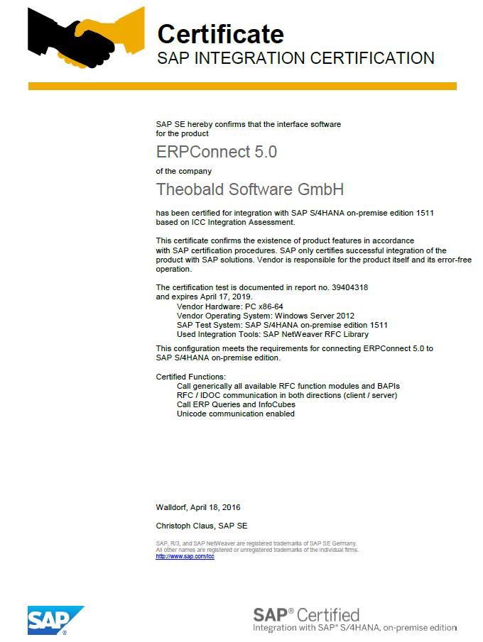 Zertifizierung Theobald Software Gmbh