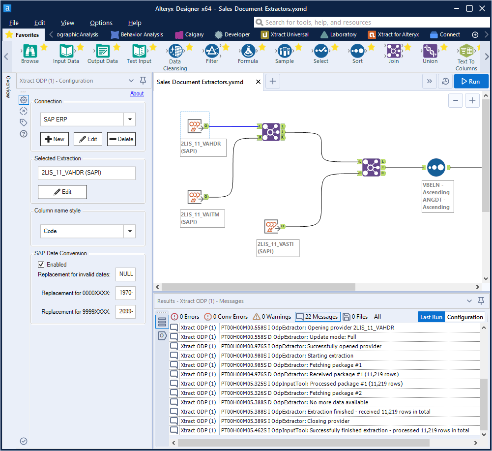 Xtract for Alteryx Workflow