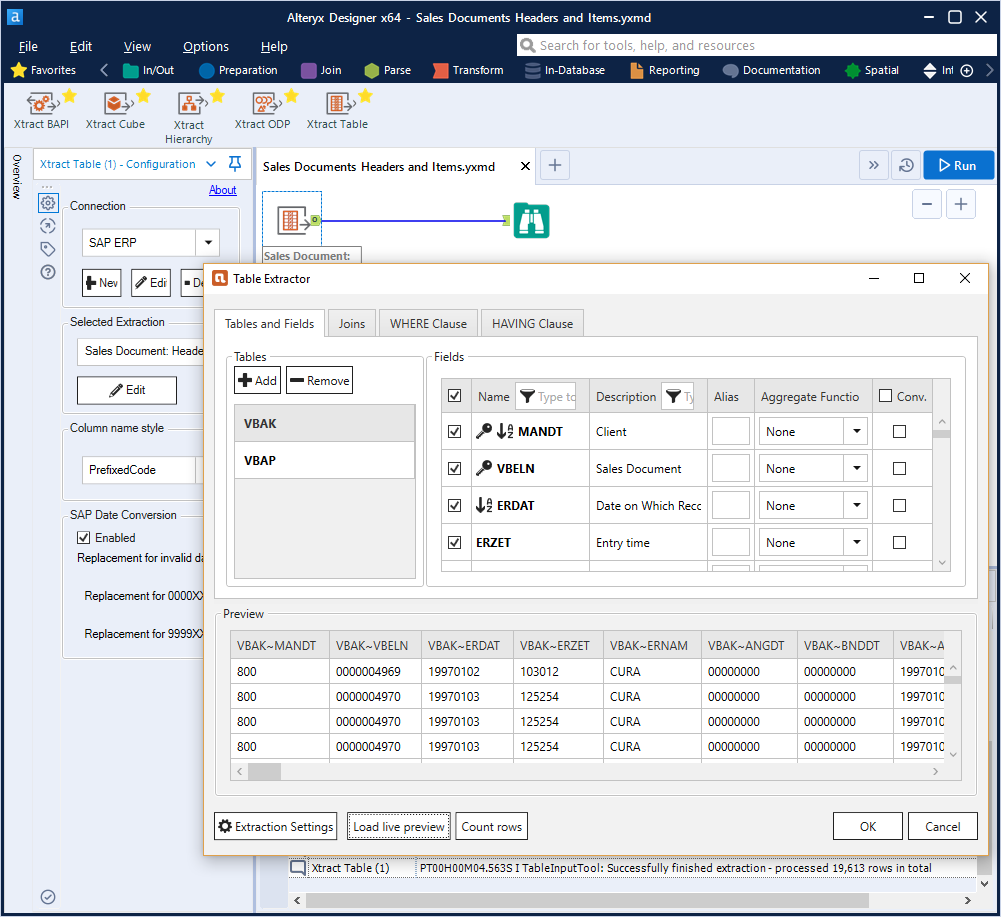 Xtract for Alteryx Table